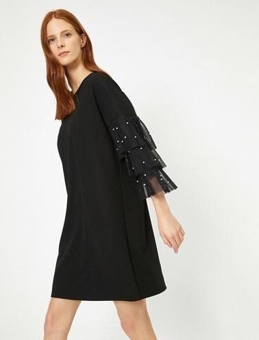 Koton Inci Detayli Elbise Siyah